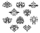 Set of black and white floral elements — Stock Vector