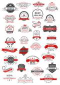 Retro set of bestseller, guarantee and quality labels — Stock Vector