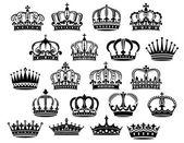 Royal medieval heraldic crowns set — Stock Vector