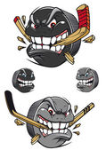 Angry evil hockey puck chomping a stick — Stock Vector