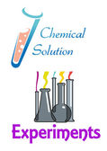 Chemical flasks and test tubes logo — Stock Vector