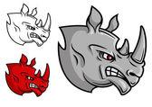 Fierce cartoon rhino head — Stock Vector