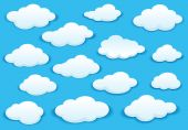 White fluffy cloud icons on blue sky — Stock Vector