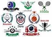 Спортивные эмблемы и значки — Cтоковый вектор
