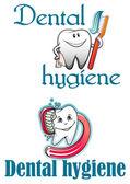 Dental hygiene logo and mascots — Stock Vector