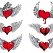 Winged heart icons and tattoos — Stock Vector #64439741