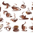 Hot coffee icons and symbols — Stock Vector #64439803