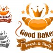 Bakery label withfresh and tasty croissant — Stock Vector #64439833
