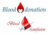 Blood donation and blood transfusion symbols — Stock Vector