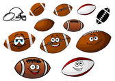 Cartoon footballs and rugby balls characters — Stock Vector