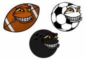 Grinning cartoon soccer, football and bowling ball — Stock Vector