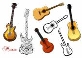 Set of musical guitars — Stock Vector
