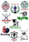 Heraldic sporting emblems or badges — Stock Vector