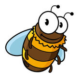 Happy flying cartoon bumble or honey bee — Stock Vector