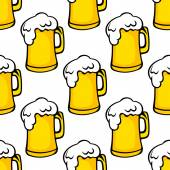 Seamless pattern of beer tankards — Stock Vector