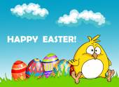 Happy Easter greeting card with eggs and a chick — Stock Vector
