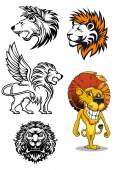 Cartoon and heraldic  lion characters — Stock Vector