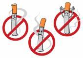 No smoking signs with cigarettes — Stock Vector