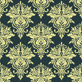 Yellow dainty floral damask seamless pattern — Stock Vector