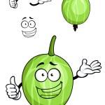 Cartoon green striped gooseberry fruit  — Stock Vector #64979279