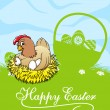 Happy easter card with hen and basket with easter eggs — Stock Vector #64979371