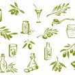Green fresh, pickled olives and olive oil symbols — Stock Vector #64979375