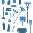 Domestic cleaning tools and supplies — Stock Vector #64979477