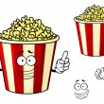 Cartoon funny striped box of popcorn — Stock Vector #64979559