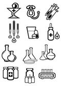 Black outline sketch icons of medicine and drugs — Stock Vector