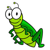 Cartoon funny green grasshopper character — Stock Vector