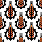 Wheat in gears seamless agriculture pattern — Vecteur