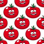 Cartoon smiling red tomatoes seamless pattern — Stock Vector