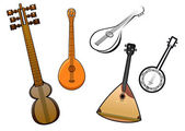 Folk stringed musical instruments design elements — Stock Vector