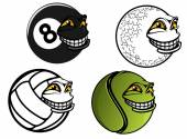 Tennis, golf, volleyball, billiard cartoon balls — Stock Vector