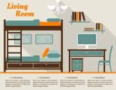 Living room flat interior design infographic — Stock Vector