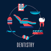 Dentistry concept with dental chair and medical icons — Stock Vector