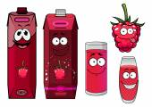 Raspberry drinks and berry in cartoon style — Vettoriale Stock