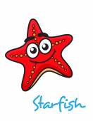 Cartoon red star fish with happy face — Stock Vector