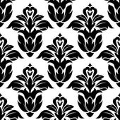 Classic floral seamless pattern with black flowers — Stock Vector