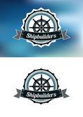 Shipbuilders heraldic banner or emblem — Stock Vector