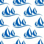 Blue yachts seamless pattern — Stock Vector