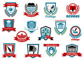 School, university or college emblems and symbols — Stock Vector