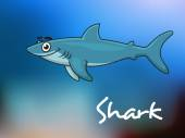 Cartoon shark in sea — Stok Vektör