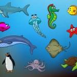 Cartoon happy smiling sea animals characters — Stock Vector #66233029