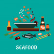 Flat seafood dish concept  with salad ingredients — Stock Vector #66235243