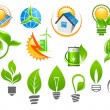 Abstract eco or green energy icons — Stock Vector #66235317