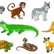 Cartoon bos en jungle wilde dieren — Stockvector  #66236095