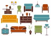Furniture and interior design elements — Stock Vector