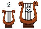 Cartoon greece musical lyre character  — Stock Vector