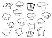 Chef hats or caps for kitchen staff — Stock Vector